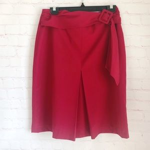 [Newport News]belted sash front pleat pencil skirt